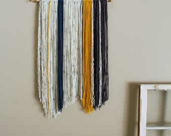 Handcrafted Yarn Wall Hanging \\ Cream, Blue, Yellow, + Grey \\ Tapestry Wall Decor \\ Home Decor