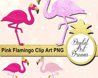Pink Flamingo Clipart, Glitter Flamingos, Cute Party Printables, Cute Birds Graphics, Commercial Clip Art, Planner Stickers, Embroidery