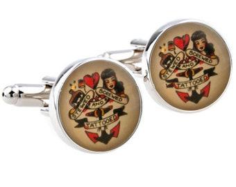Sailor Jerry Style Cufflinks - Screwed Stewed Tattooed - Rockabilly Vintage - Stainless Steel