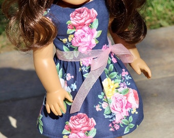 """18"""" Doll Floral Dress to Fit Like American Girl Doll Clothes, Bitty Baby Dress, 18"""" Doll Clothes, 18 Inch Doll Dress, 14.5"""" Wellie Wishers"""