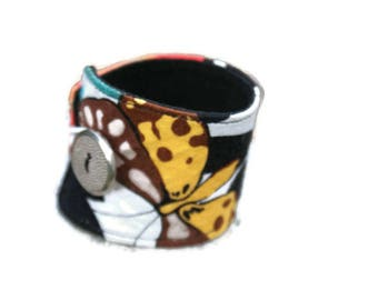Gift idea nature fabric band Cuff Bracelet