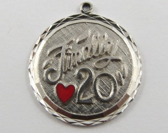 Finally 20 With Red Enamel Heart Sterling Silver Vintage Charm For Bracelet