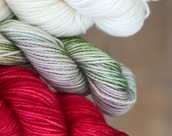 Hand dyed yarn,Mitten/Fingerless Mitt Kit #1,Indie Dyed Yarn,gift for yarn lovers,50 gram Mini Skeins,Mitten/Mitt kit - pattern not included