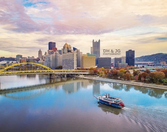 Beautiful Pittsburgh (Pittsburgh Photography, Aerial Pittsburgh, skyline, sunset, gateway clipper)