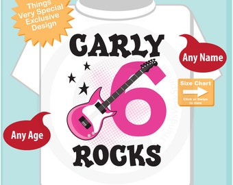 Girl's Pink Guitar Birthday Shirt or Onesie, Personalized Birthday Shirt, Pink Guitar Shirt with Age and Name (09262016e)