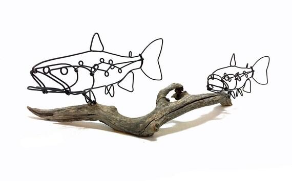 Doppelte Forelle Draht Skulptur Forelle Art Fisch Draht