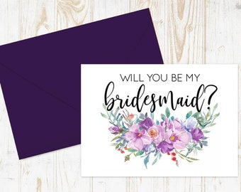 Bridesmaid proposal, Will you be my bridesmaid cards, Floral To My Bridesmaid, Bridal Cards, Bridesmaid Card, Wedding Cards, Bridesmaid Ask