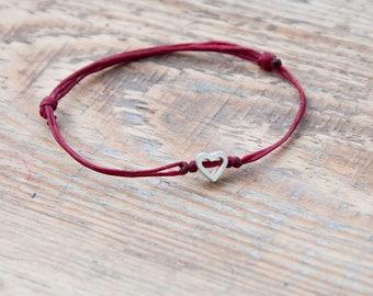 Personalised heart Bracelet custom love jewellery friendship bracelet bff jewelry adjustable bracelet custom colour sweetheart love gift