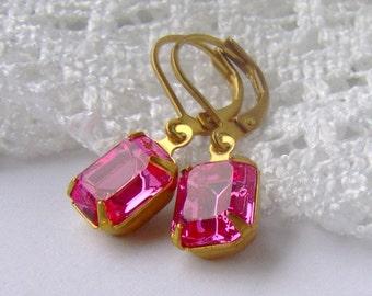 Pink rhinestone dangle earrings / BCA / estate style / vintage style / leverback earrings / gift for her / vintage Swarovski rhinestones