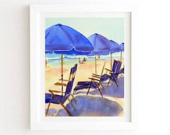 Beach Chairs - White Framed Wall Art