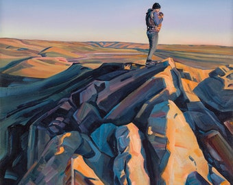 Raidy and Dad Brave Windy Point - giclee print on paper or canvas
