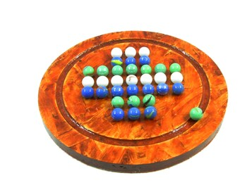Solitaire orange reconstituted stained wooden board game