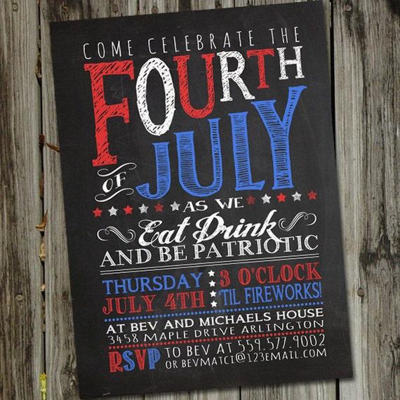 Chalkboard Fourth Of July Invitation 4th Of July Invitation