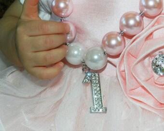 Bubblegum Chunky 2nd Birthday Necklace Bubblegum Bead Necklace Rhinestone Number Pendant Girls Pearls Baby Bead 3rd Birthday Necklace