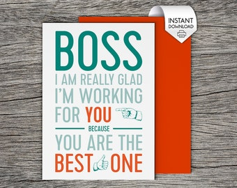 Boss's Day Card, Bosses Day Card - Printable Card - Best Boss
