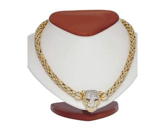 18kt panther head diamond Chemento necklace