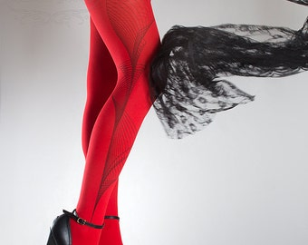 Tattoo Tights -  Lines one size red full length printed tights, pantyhose, nylons by tattoosocks