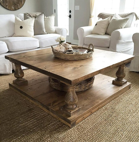 Amazing Large Square Rustic Baluster Wide Plank Coffee Table