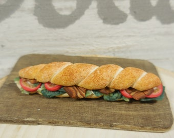 Fairy Sub Sandwich ~ Miniature Submarine Deli Sandwich for Fairies ~ Tiny Food and Sandwiches ~ Fairy Garden Accessories & Suplies
