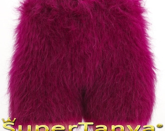 Made to order hand knit shorts, thick and fuzzy mohair short pants in purple by SuperTanya