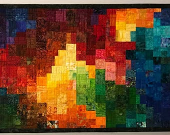 Art Quilt Multi Mosaic 12 Large, Wall Quilt, Wall Hanging