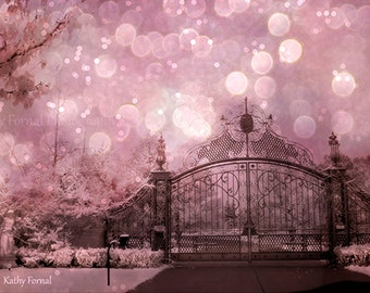 Nature Photography, Pink Gate Fantasy Bokeh Fairy Lights, Surreal Fairytale Gothic Gate, Dreamy Pink Gate Landscape, Baby Girl Nursery Decor