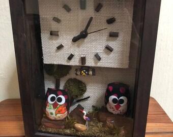 Handmade Wooden LED Clocks (Owl Size 3)