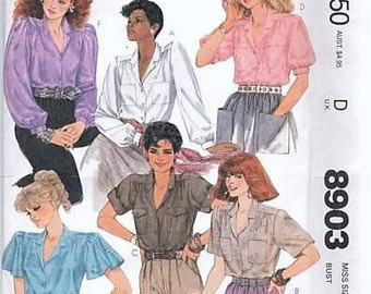 Vintage 1984 McCall's 8903  Blouse Pattern  6 Variations Flutter Sleeves