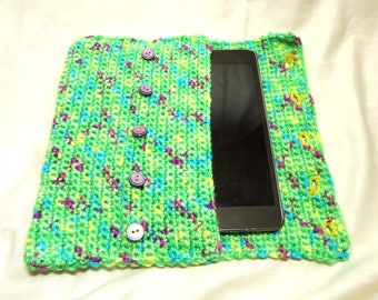 Green with yellow, blue, and purple fleck crocheted electronic tablet cover, handmade, tablet cozy, handheld device cover