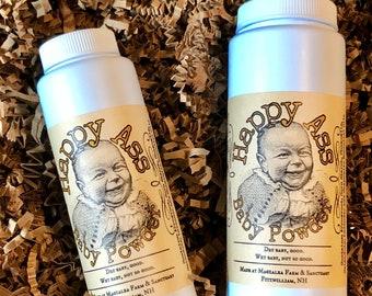 Happy Ass Baby Powder, all natural, organic, herbal, chamomile, calendula, lavender, talc free