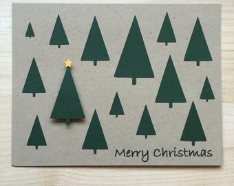 Merry Christmas Tree Cards, Holiday Card, Merry Christmas Card, Christmase Tree Card