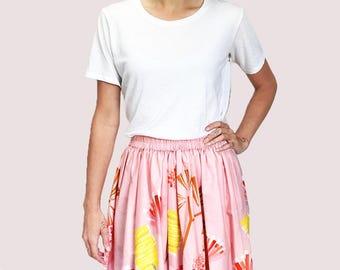 Pink Mauve Protea 100% cotton skirt