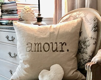 Valentine's day AMOUR pillow case, French love