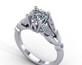 forever brilliant moissanite  engagement ring,  moissanite center engagement ring, style 28WDM