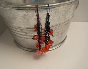 Earrings - Red Dangle earrings - Black chain - E44