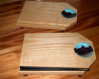 Set of Sushi Dishes – Ash/Purpleheart Woods  - Unique Design W/Sauce Bowl – Chop Stick Slot - No Stain No Dyes - Handmade - Made in the USA