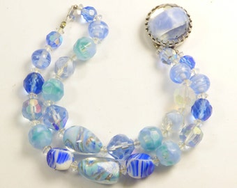 Vintage Alice Caviness Blue Art Glass Double Strand Bracelet