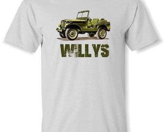 WILLYS JEEP Drawing T Shirt S,M,L,XL.