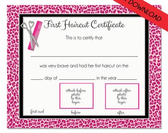 my first haircut certificate printable