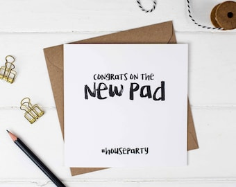 Congrats On The New Pad Card - Congratulations Card - New Home Card - Housewarming Card