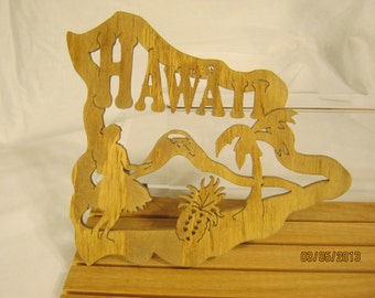 US STATE of HAWAII Scroll Saw Plaque