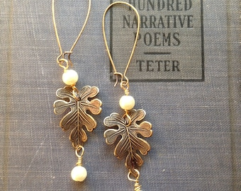 Antiqued Brass Leaf and Vintage Pearl Earrings