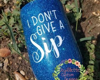 Blue glitter Wine cup, Wine glass, stemless wine glass, stainless wine cup, yeti wine, rtic wine, glitter dipped, glitter tumbler