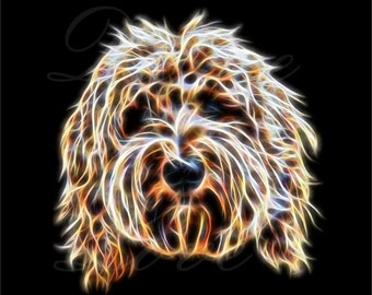 Labradoodle Print in Fractal Light Art Style. Dog Art Print an excellent Labradoodle owner gift