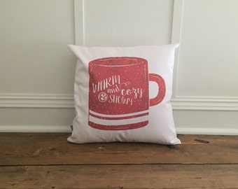 Red warm and Cozy Mug Pillow Cover