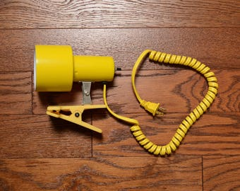 vintage 80s yellow clip on light desk lamp spring cord 1980 home office home decor bright yellow desk lamp clip light