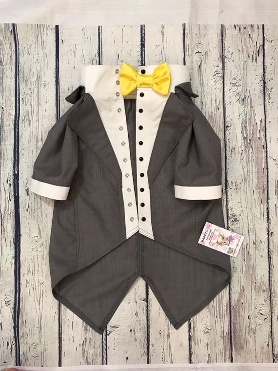 Grey wedding tuxedo with yellow bow tie Formal suit for dog