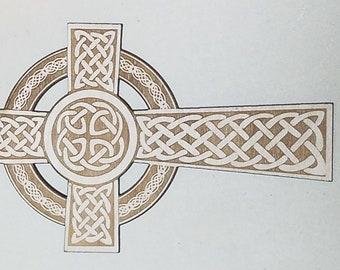 "Laser Engraved Celtic Cross St Patrick's Day Gift Personalized Irish Gaelic wood Druid 8"" x 5"""