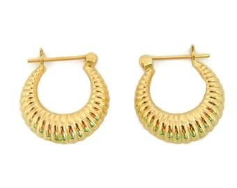 14k Gold Hoop Earrings Ribbed Hinged Back Hoops Vintage