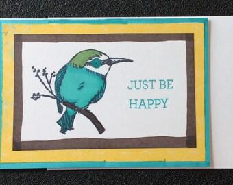 Happy, Friendship, Encouragement, Bird, Handmade, card